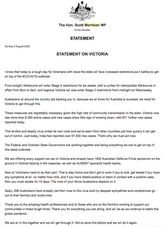 Başbakanı Scott Morrison'un ingilizce mesajı
