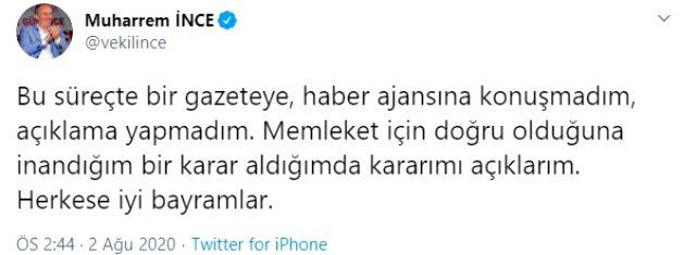 Son Dakika: CHP'den ayrılarak parti kuracağı söylenen Muharrem İnce, iddiaları yalanladı