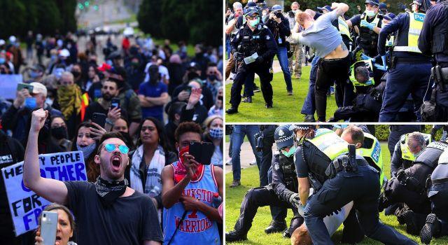 Melbourne'da Covid-19 yasakları karşı gösteri düzenlendi